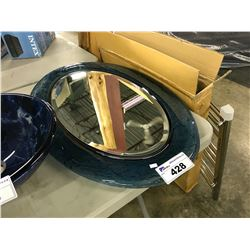 BLUE GLASS FRAME OVAL MIRROR