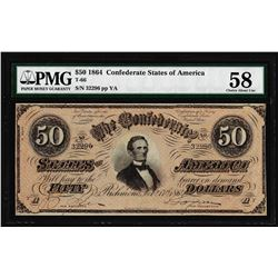 1864 $50 Confederate States of America Note T-66 PMG Choice About Uncirculated 58