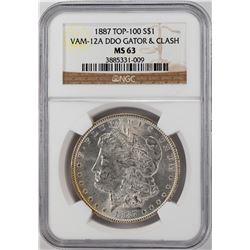 1887 VAM-12A $1 Morgan Silver Dollar Coin NGC MS63 DDO Gator & Clash Top 100