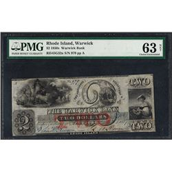 1850's $2 Warwick Bank Rhode Island Obsolete Note PMG Choice Uncirculated 63 Net