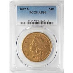 1869-S $20 Liberty Head Double Eagle Gold Coin PCGS AU50