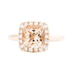 14KT Rose Gold Ladies 2.10 ctw Morganite and Diamond Ring