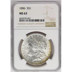 1886 $1 Morgan Silver Dollar Coin NGC MS63 Amazing Toning