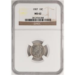 1907 Barber Dime Coin NGC MS62