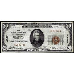 1929 $20 National Bank Reading, PA CH# 4887 National Currency Note