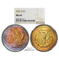 1921-D $1 Morgan Silver Dollar Coin NGC MS64 Amazing Toning