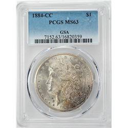 1884-CC $1 Morgan Silver Dollar Coin PCGS MS63 GSA