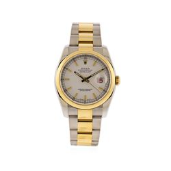 Rolex Men's Two Tone Stainless Steel & Gold Datejust Watch with Roulette Dial