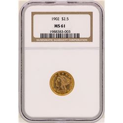 1902 $2 1/2 Liberty Head Quarter Eagle Gold Coin NGC MS61