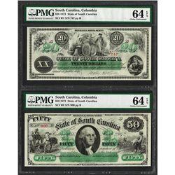 Lot of 1872 $20 & $50 South Carolina Revenue Bond Obsolete Notes PMG Choice Unc. 64EPQ
