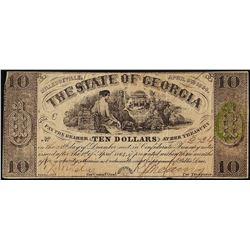 1864 $10 State of Georgia Obsolete Note