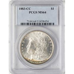 1883-CC $1 Morgan Silver Dollar Coin PCGS MS64 Amazing Toning