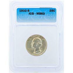 1932-S Washington Silver Quarter Coin ICG MS63