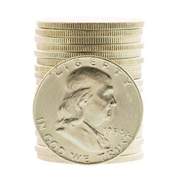 Roll of (20) Brilliant Uncirculated 1954-D Franklin Half Dollar Coins