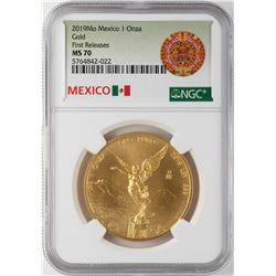 2019 Mo Mexico Libertad 1 Onza Gold Coin NGC MS70 First Releases