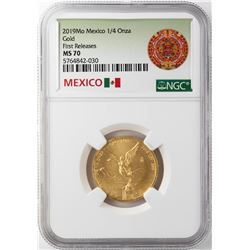 2019 Mo Mexico Libertad 1/4 Onza Gold Coin NGC MS70 First Releases