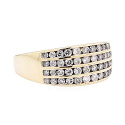 14KT Yellow Gold 1.00 ctw Diamond Four Row Wide Band