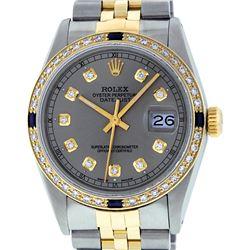 Rolex Mens Two Tone 14K Slate Grey Diamond & Sapphire Datejust Wristwatch