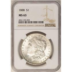 1888 $1 Morgan Silver Dollar Coin NGC MS63