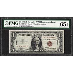 1935A $1 Hawaii WWII Emergency Issue Silver Certificate Note PMG Gem Unc. 65EPQ