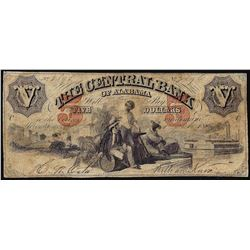 1800's $5 The Central Bank of Alabama Obsolete Note