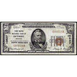 1929 $50 First Wayne NB of Detroit, MI CH# 10527 National Currency Note