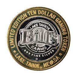 .999 Silver Bills Casino Lake Tahoe, Nevada $10 Limited Edition Gaming Token