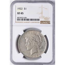 1922 $1 Peace Silver Dollar Coin NGC XF45