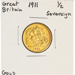 1911 Great Britain Half Sovereign Gold Coin