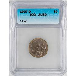 1937-D 3 Legged Buffalo Nickel Coin ICG AU50