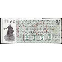 1862 $5 Treasury Warrant State of Texas Obsolete Note
