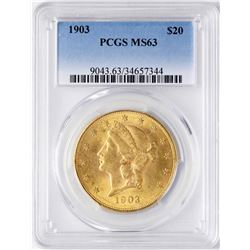1903 $20 Liberty Head Double Eagle Gold Coin PCGS MS63