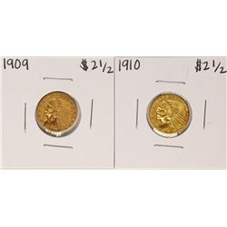 Lot of 1909-1910 $2 1/2 Indian Head Quarter Eagle Gold Coins