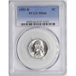 1953-D Jefferson Nickel Coin PCGS MS66