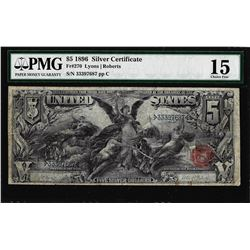 1896 $5 Educational Silver Certificate Note Fr.270 PMG Choice Fine 15