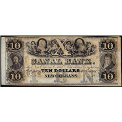 1800's $10 Canal Bank New Orleans, LA Obsolete Note