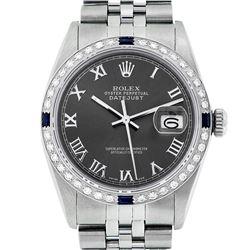 Rolex Mens Stainless Steel Dark Rhodium Roman Diamond & Sapphire Datejust Wristwatch