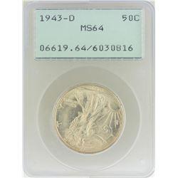 1943-D Walking Liberty Half Dollar Coin PCGS MS64 Old Green Rattler