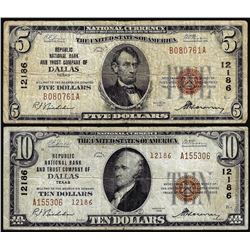 Set of 1929 $5/$10 NB of Dallas, TX CH# 12186 National Currency Notes