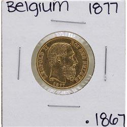 1877 Belgium Leopold 20 Francs Gold Coin