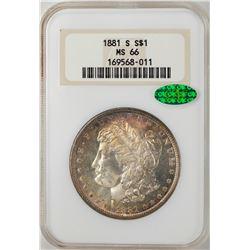 1881-S $1 Morgan Silver Dollar Coin NGC MS66 CAC Nice Toning