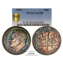 1959 Roosevelt Dime Coin PCGS AU50 Amazing Toning
