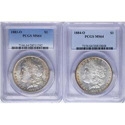 Lot of 1883-O & 1884-O $1 Morgan Silver Dollar Coins PCGS MS64