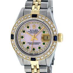 Rolex Ladies Two Tone 14K Pink MOP Diamond Emerald & Sapphire Datejust Wriswatch