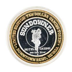 .999 Silver Sundowner Hotel Casino Reno, NV $10 Casino Limited Edition Gaming Token