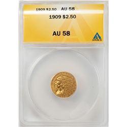 1909 $2 1/2 Indian Head Quarter Eagle Gold Coin ANACS AU58