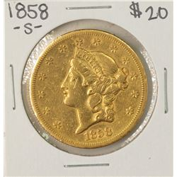 1858-S $20 Liberty Head Double Eagle Gold Coin