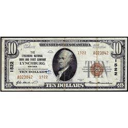 1929 $10 NB Lynchburg, VA CH# 1522 National Currency Note