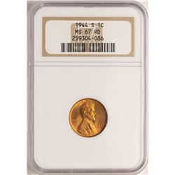 1944-S Lincoln Wheat Cent Coin NGC MS67RD