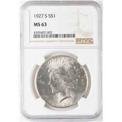 1927-S $1 Peace Silver Dollar Coin NGC MS63